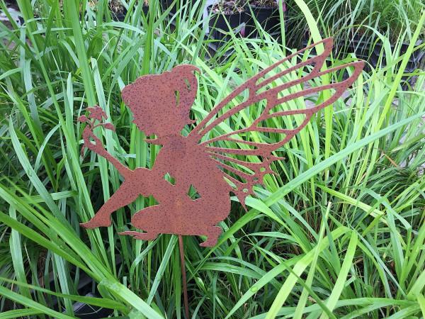 Blumen Mädchen im Rost look Stecker (lang 48cm, breit 28 cm)