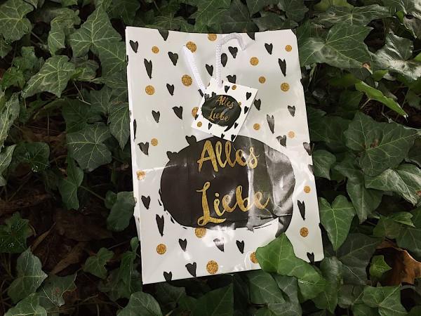 """Geschenk Tasche """"Alles Liebe!"""" mit Grussanhänger (ca 23 x 17 cm)"""
